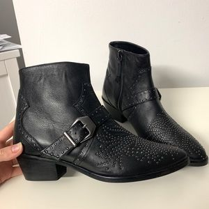 Zara Studded Heeled Leather Cowboy Boots